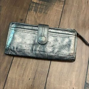 Fossil Silver metallic wallet great for fall